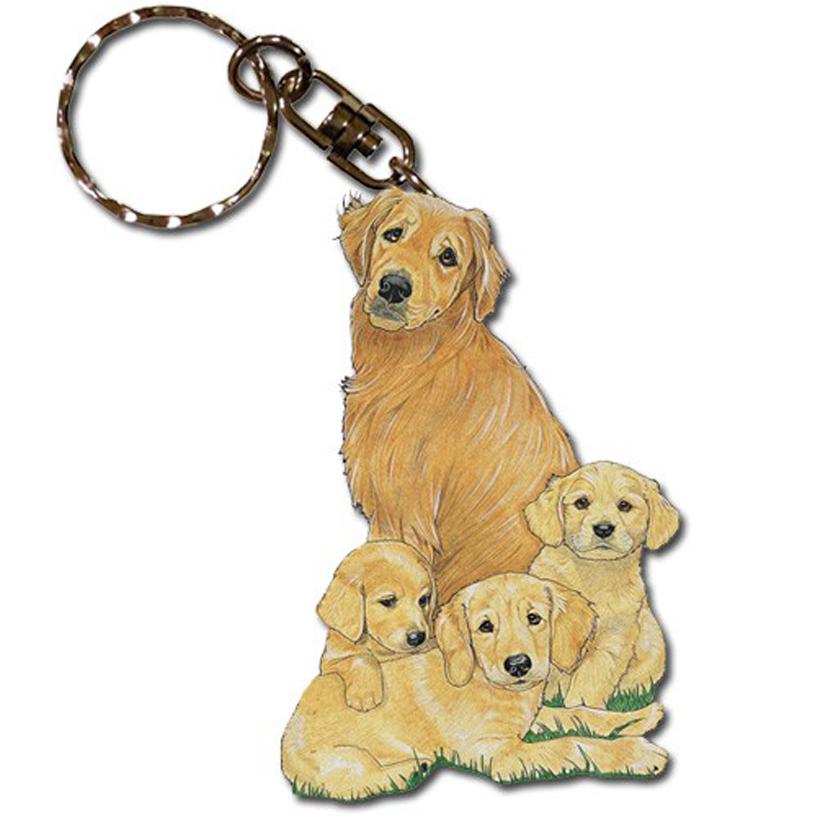 Golden Retriever Wooden Keychain