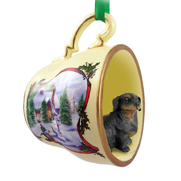 Dachshund Christmas Teacup Ornament Blk