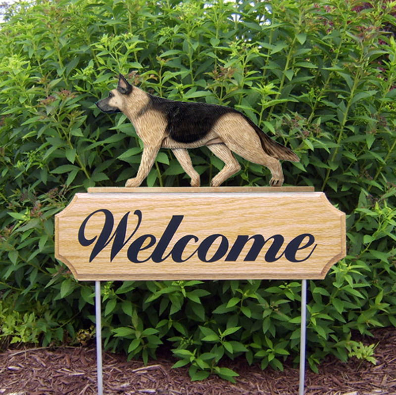 German Shepherd Dog Breed Oak Wood Welcome Outdoor Yard Sign Tan W