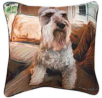"Schnauzer Artistic Throw Pillow 18X18"""