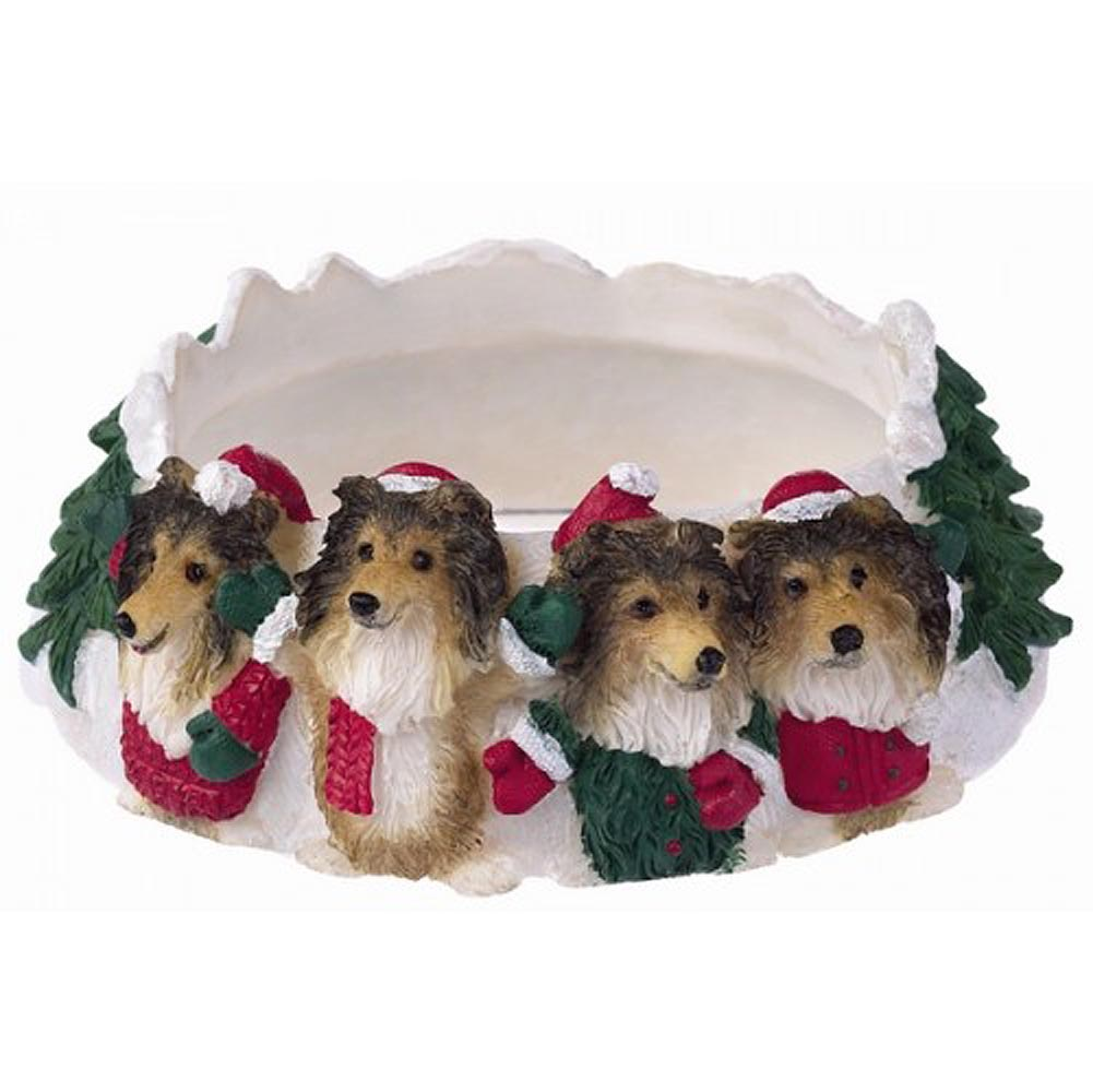 Sheltie Holiday Candle Topper Ring