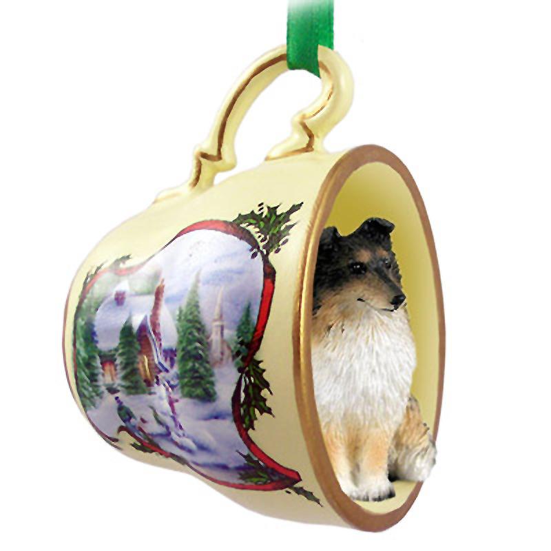 Sheltie Christmas Ornament Teacup Tri Color