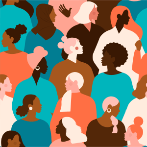 stylised vector image of a diverse group of women