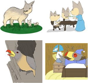 Realistic (left) and anthropomorphic (right) illustrations for research study