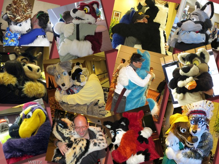 Fursuit hug montage by Wildbilltx