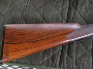 English stock on the 20 gauge L.C. Smith double barrel shotgun