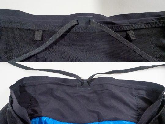シェルパショーツ Sherpa Shorts v2のウェストを締める平ひもはショーツの外側(上)でも内側(下)でも締めることができる。