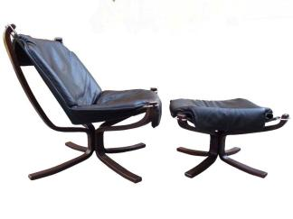 Leather Falcon Chair and Ottoman