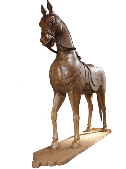Lifesize Carved Wooden Horse
