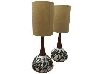 Ceramic and Wood Table Lamps