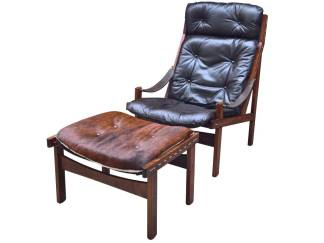 Rosewood Hunter Chair and Ottoman