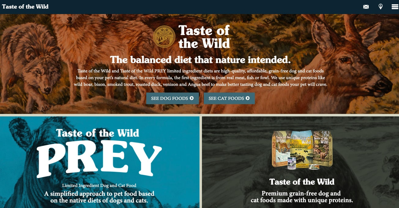 Taste of the wild website home page