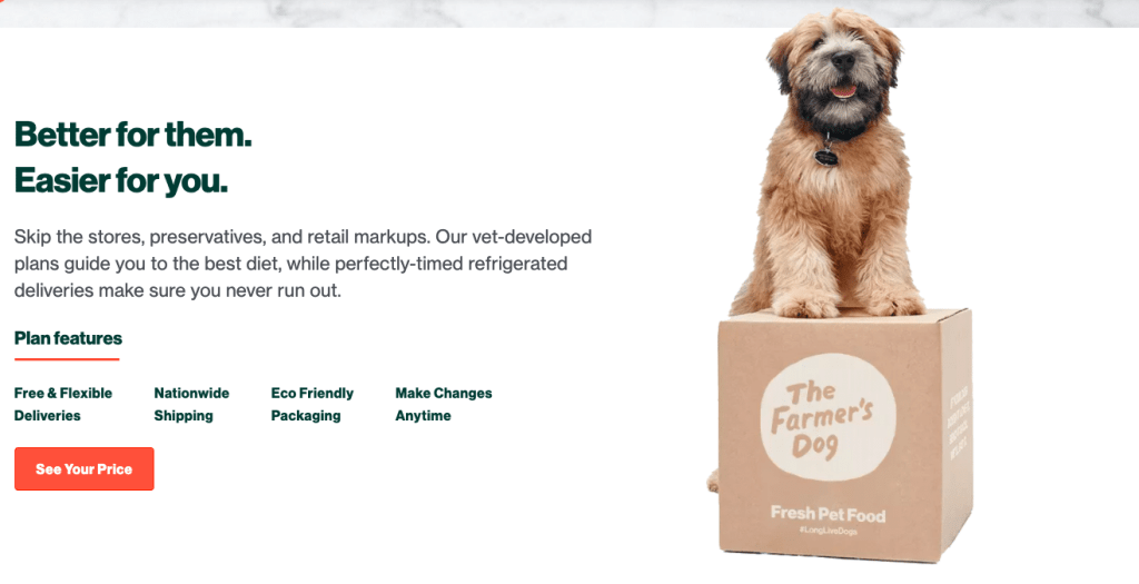 The Farmers Dog website - Dog Standing on a box of dog food from The Farmers Dog