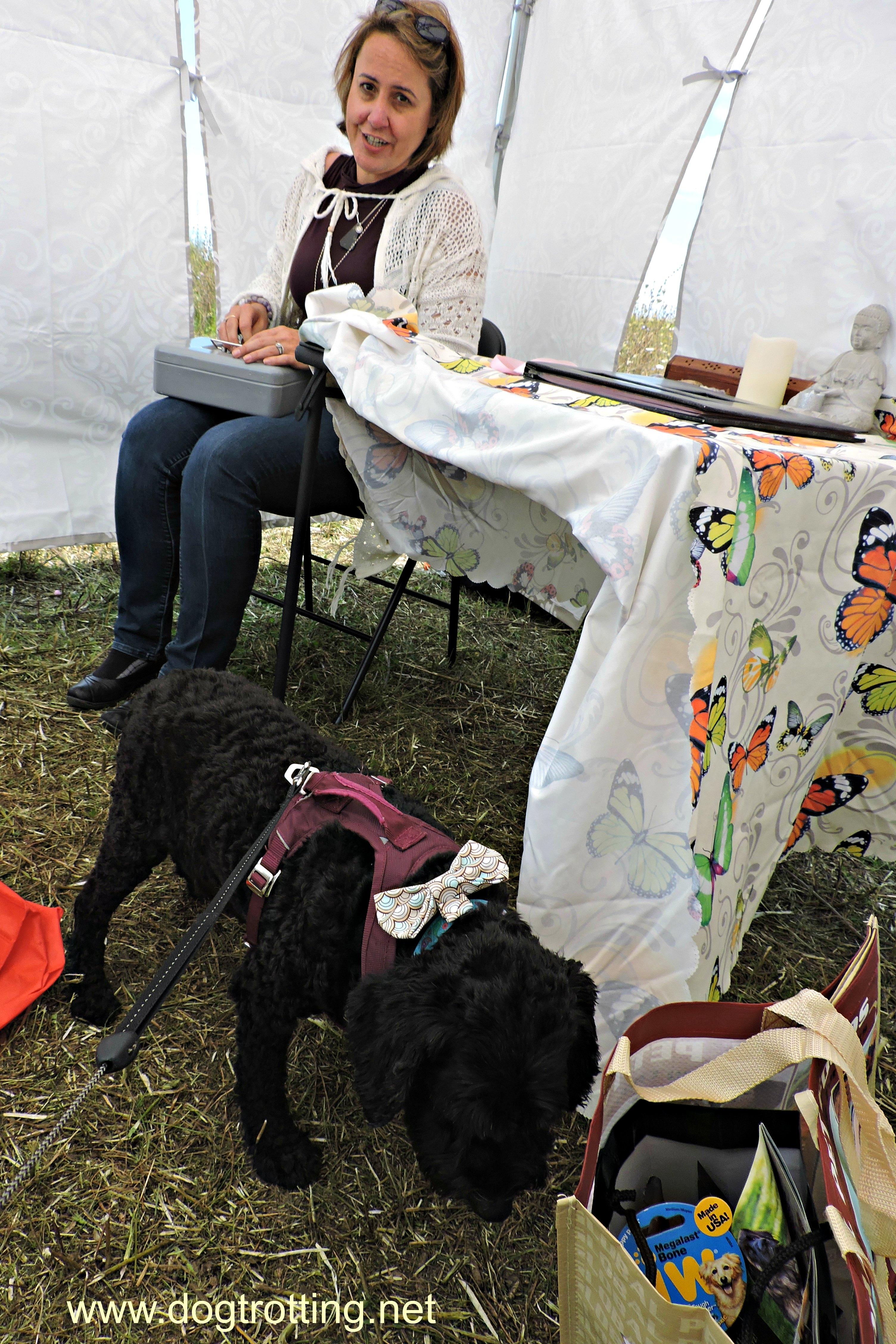 pet communicator and Victor at Stouffville Mutt Masquerade event 2017 dogtrotting.net