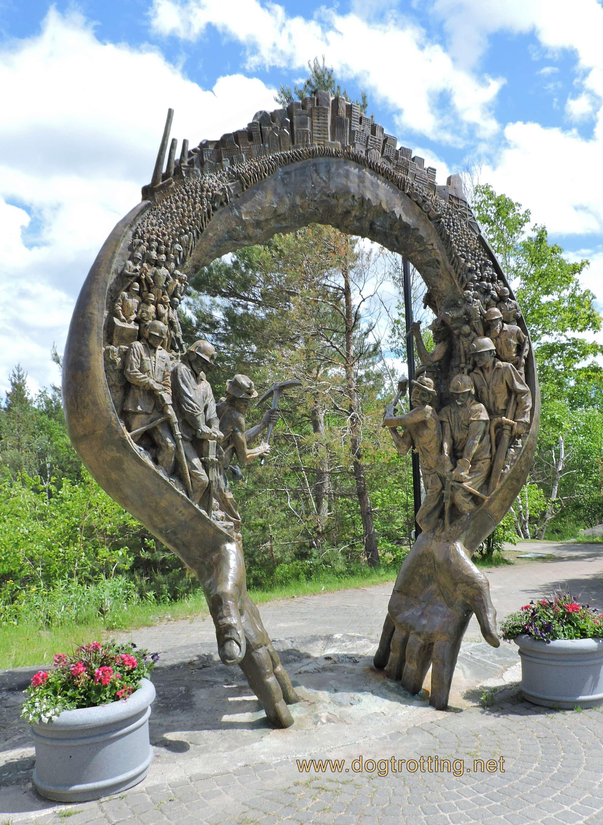 Miners Memorial sculpture at Ramsey Lake in Sudbury Ontario