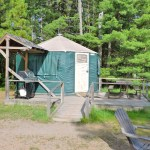 yurt at pancake bay in northern ontario, canada