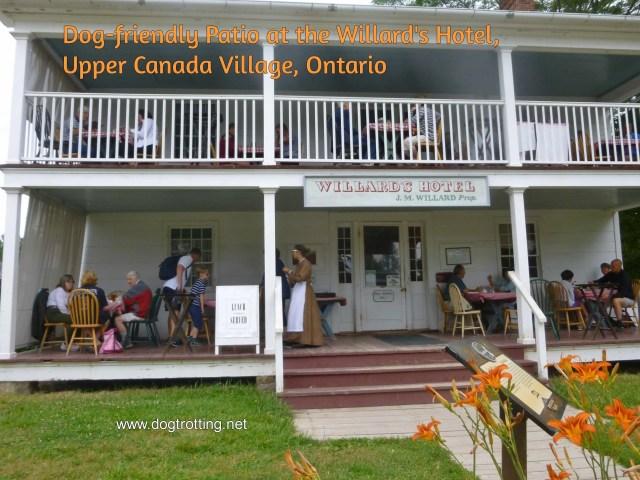 dog-friendly patio at Upper Canada Village's Willard Hotel