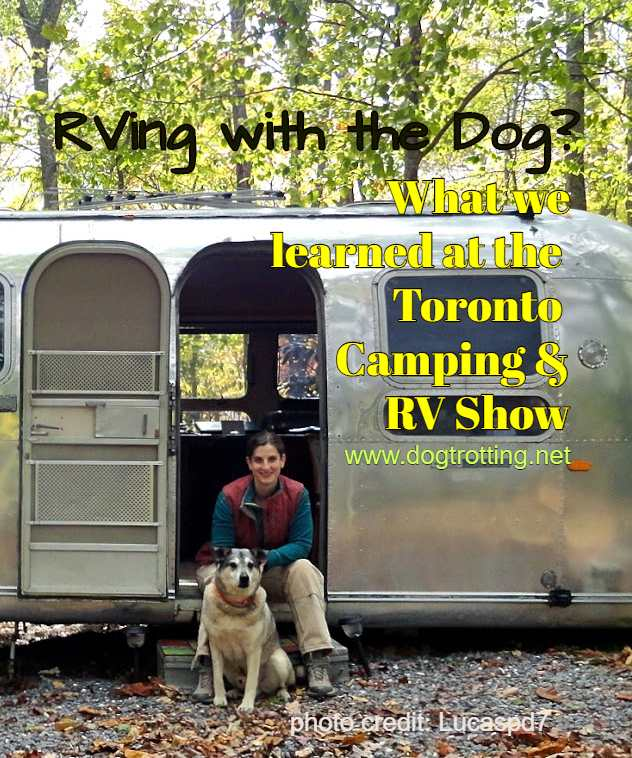 woman with dog in front of RV camper with text: RVing with the Dog