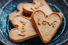 heart shaped cookies on plate