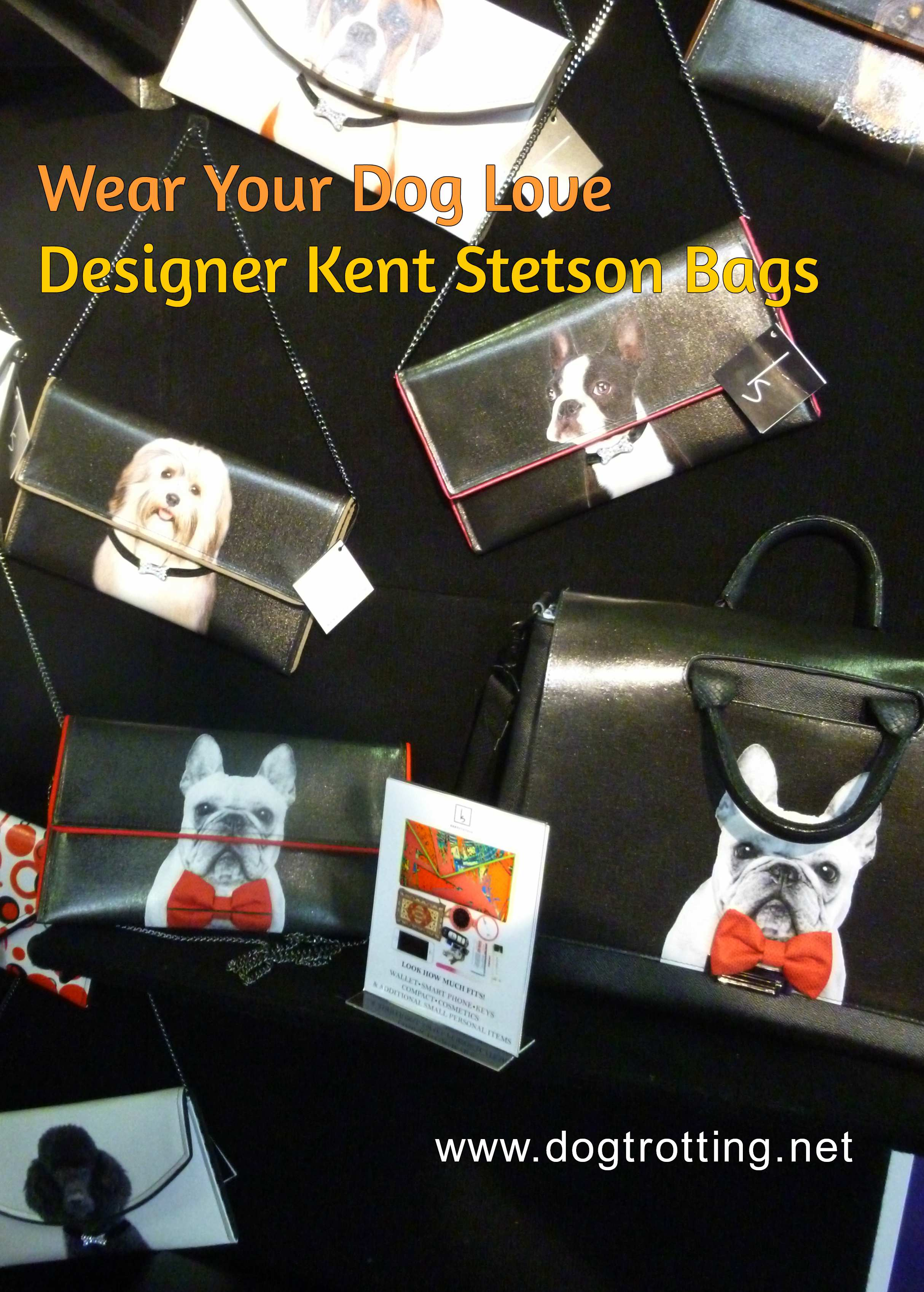 variety of Kent Stetson designer bags with dogs on them