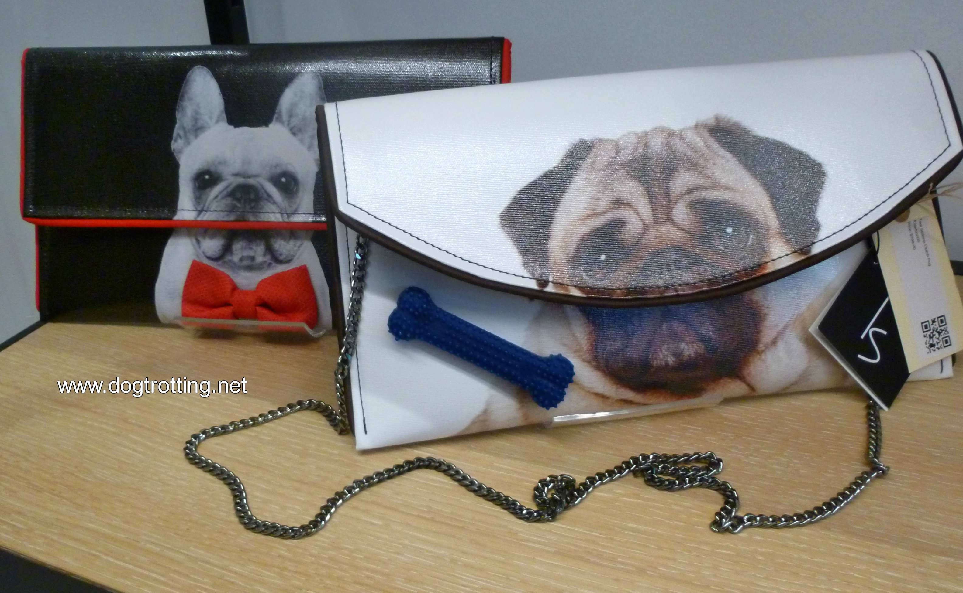 Kent Stetson designer bags with pug and french bulldog on them