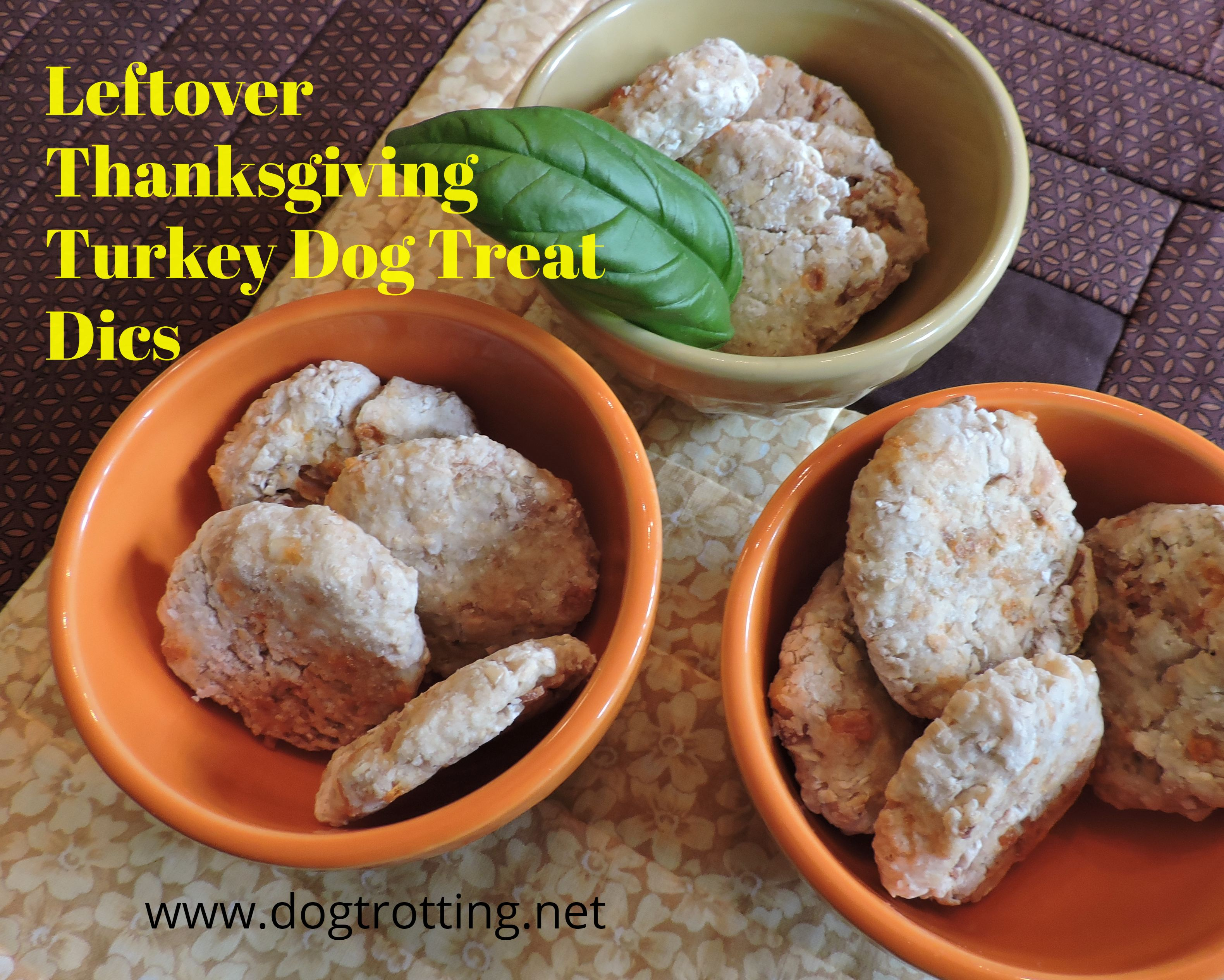 three bowls of disc shaped homemade turkey dog treats