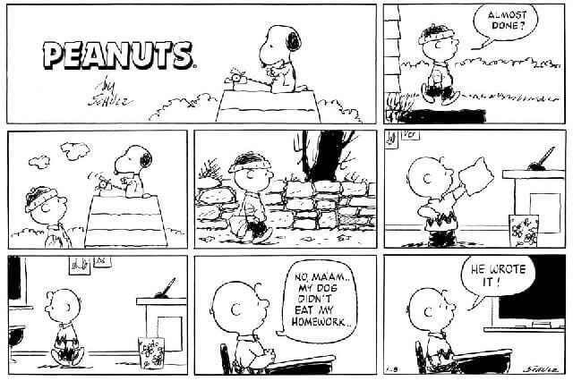 peanuts dog homework