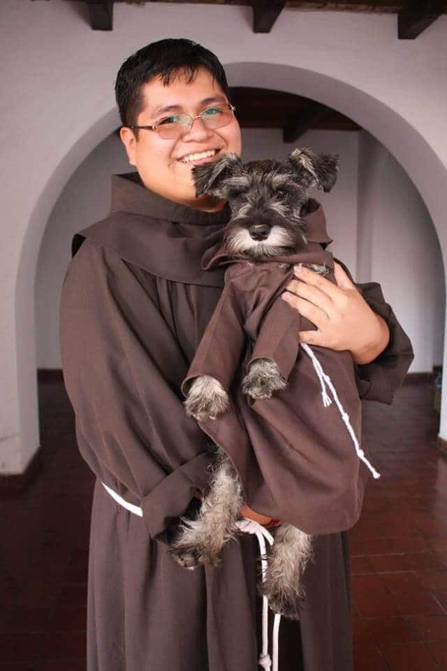 Stray dog adopted by monastery