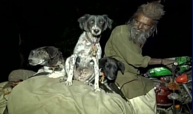 Sadhu and his dogs travel