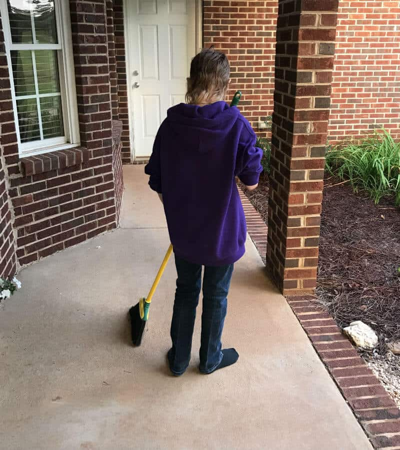 Sweeping the porch is a great chore for children as long as your aren't expecting it to be perfect.