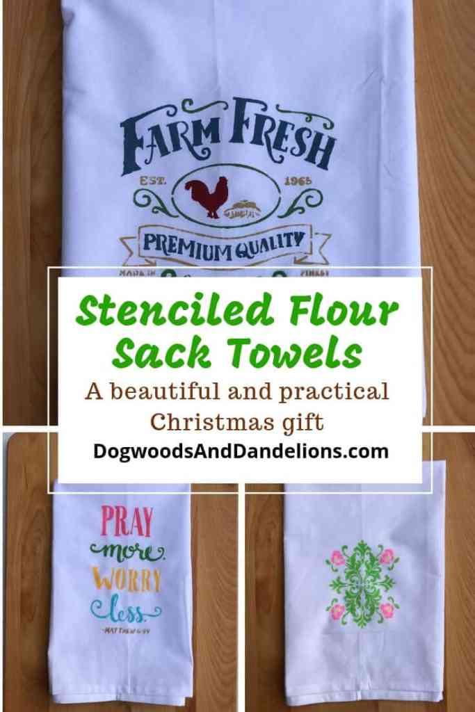 3 stenciled flour sack dish towels