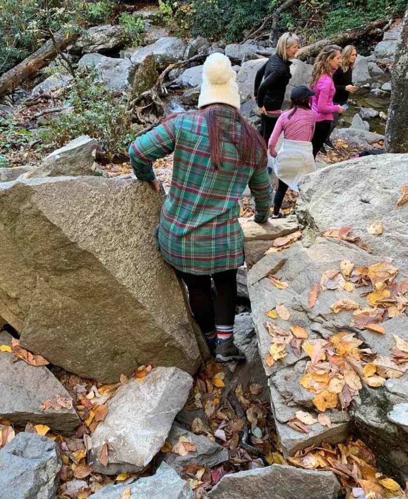 climbing down rocks