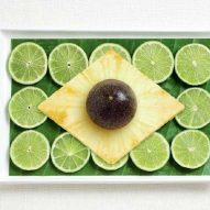 Banana leaf, limes, pineapple and passion fruit
