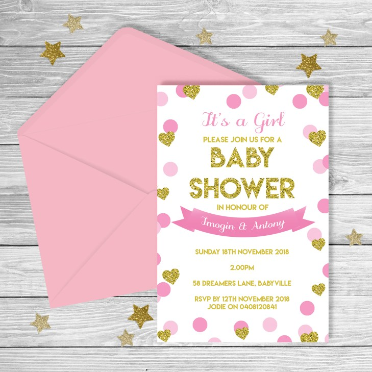 Pink & Gold Glitter Baby Shower Invitation ...