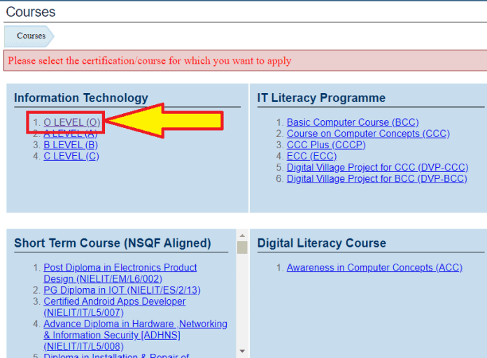 Application Process for O Level Computer Course