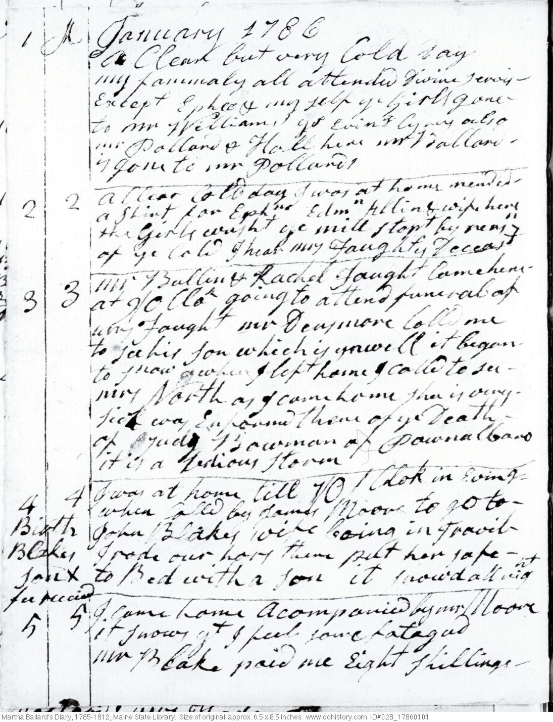 Martha Ballard's Diary, Jan. 1-5, 1786 (I)