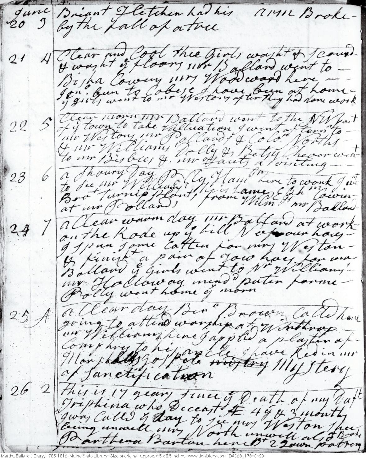 Martha Ballard's Diary, Jun. 20-26, 1786 (I)