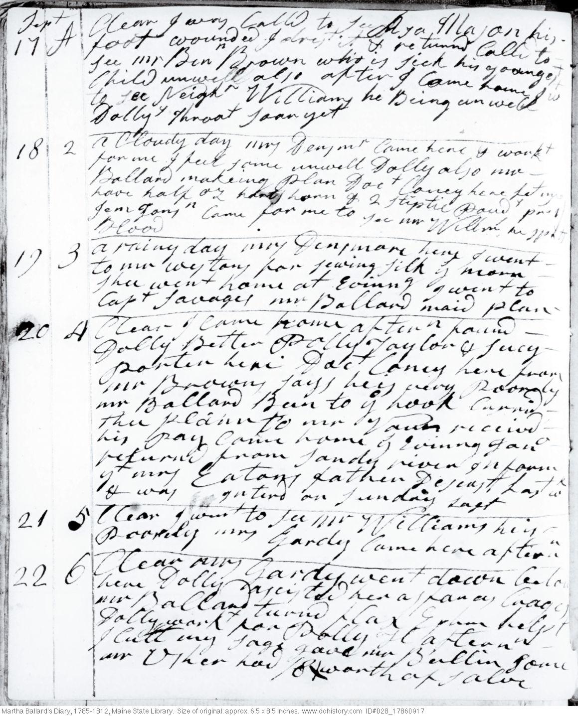 Martha Ballard's Diary, Sep. 17-22, 1786 (I)