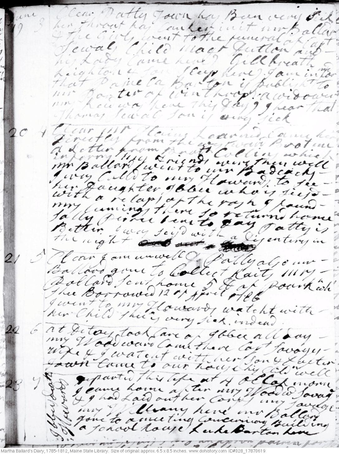 Martha Ballard's Diary, Jun. 19-23, 1787 (I)
