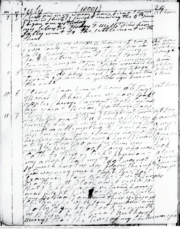 Martha Ballard's Diary, Jul. 7-11, 1801 (I)