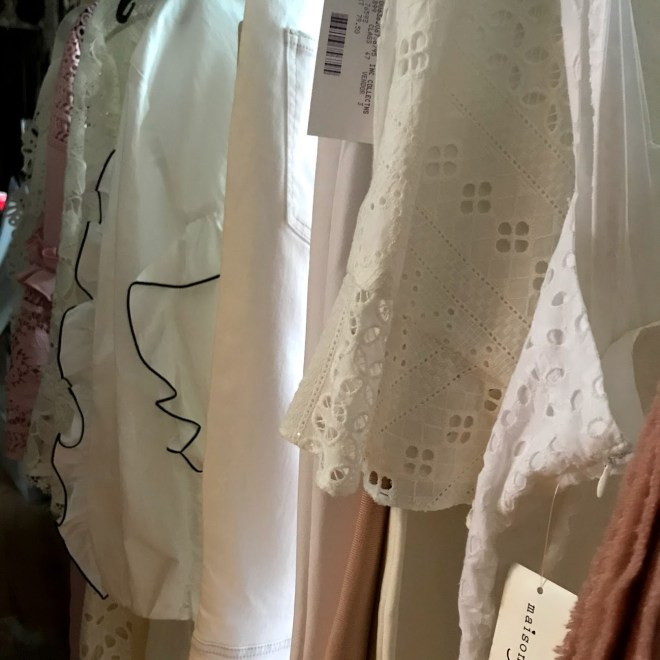 Closeup of the delicate pink and white fashion picks for the spring fashion Star Tribune shoot at the Dohmicile.