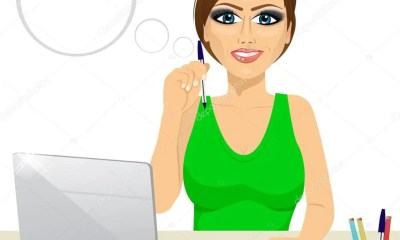 Depositphotos 94018660 Stock Illustration Pensive Office Secretary Woman Working