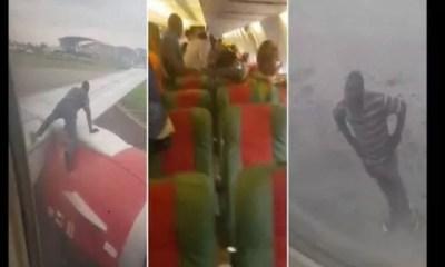 Nigeria,un Homme Tente De Voyager En S'accrochant,aile D'un Avion, Plein Décollage,vidéo