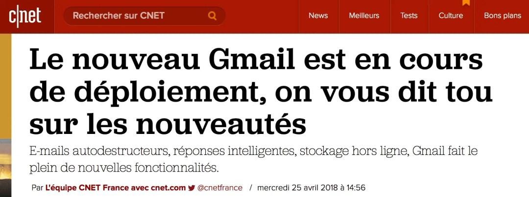 Déploiement du nouveau Gmail
