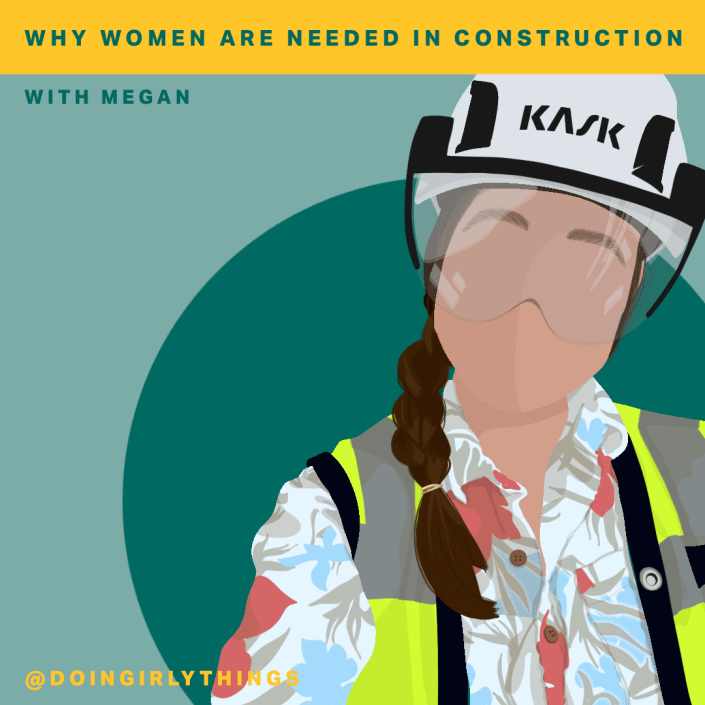 women in hard hat construction with a braid doin girly things