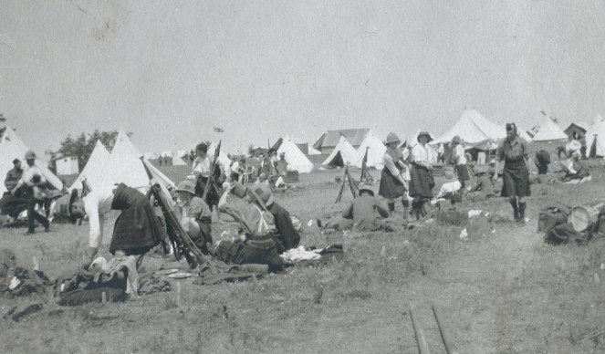 The 79th Cameron Highlanders of Canada Striking Camp in early July 1914