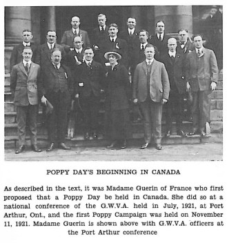 Madame Guerin with GWVA'Canadian Legion : Service The Story Of The Canadian Legion 1925 to 1960' by C.H. Bowering : pagexxxii courtesy of Canadian Legion & Thunder Bay Public Library