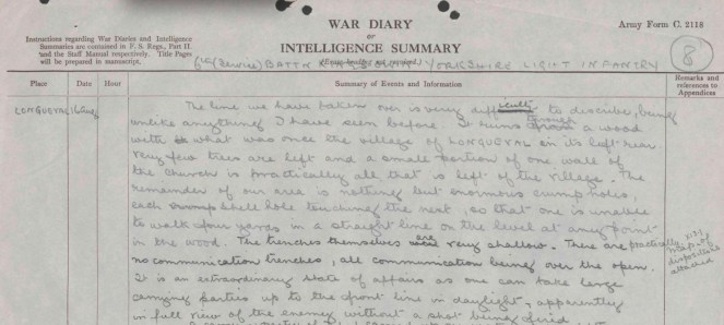 War Diary excerpt from 16 Aug 1916 (Source: The National Archives)