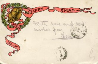 A Christmas card sent from Giessen P.O.W. camp in 1915