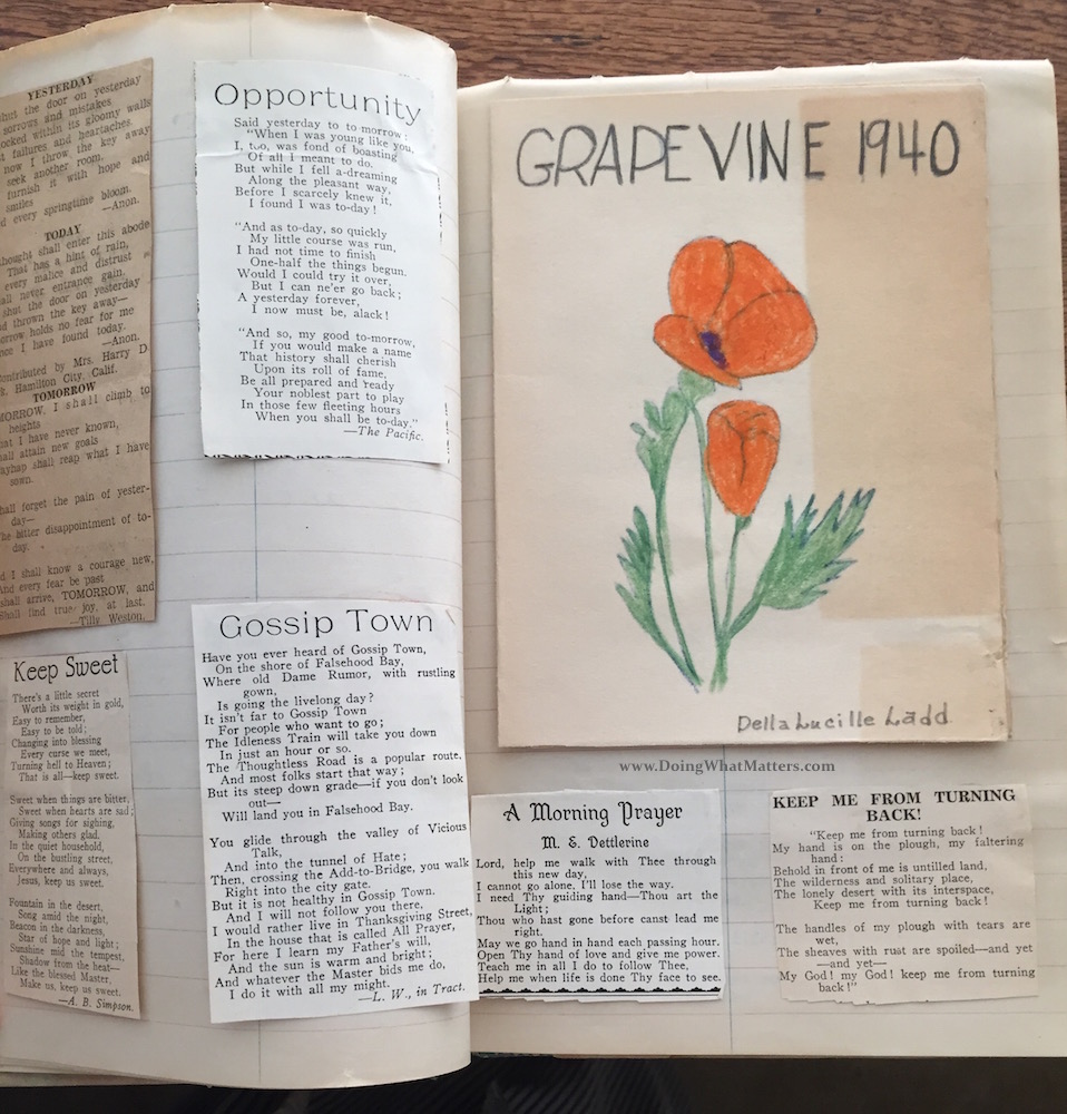 Poems and a 1940 graduation program for Grapevine School from Aunt Edie's scrapbook.